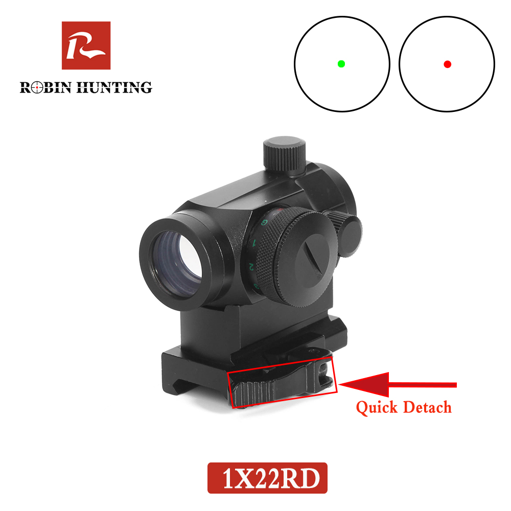 Robin Hunting Tactical QD1X22 Reflex Red&Green Dot Rifle Scope Quick Riser Mount Quick Detach Holographic Airsoft Collimator Dot