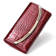 Portefeuille en cuir véritable pour femmes, grande capacité, Design de luxe, porte monnaie en cuir verni, pour cartes de crédit, pour dames, en cuir de vache