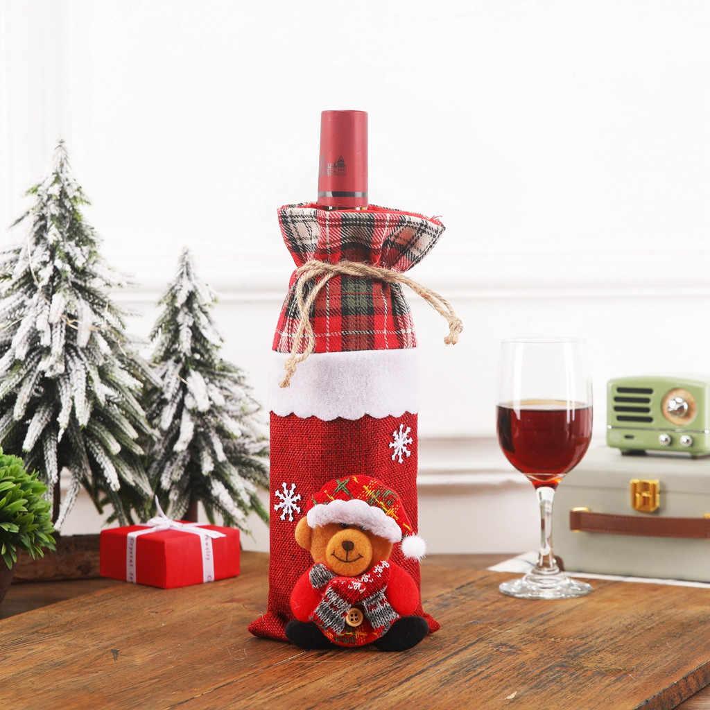 Tampa do Frasco de Vinho de papai Noel Feliz Natal Decorações para Casa 2019 Enfeite De Natal Navidad Natal Presente de Ano Novo 2020 7P