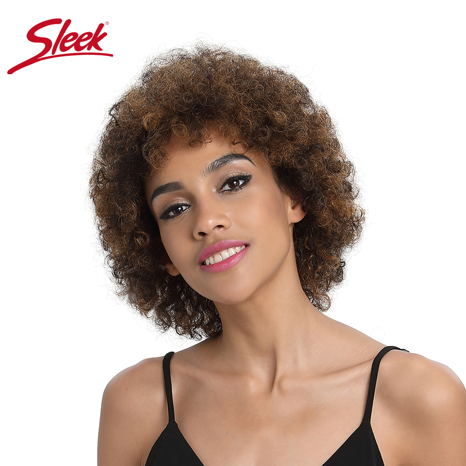 Sleek Short Human Hair Wig Afro Kinky Curly Wig Brown Black Mix Color Human Hair Wigs 150% Density Fast Shipping Rebecca Wigs
