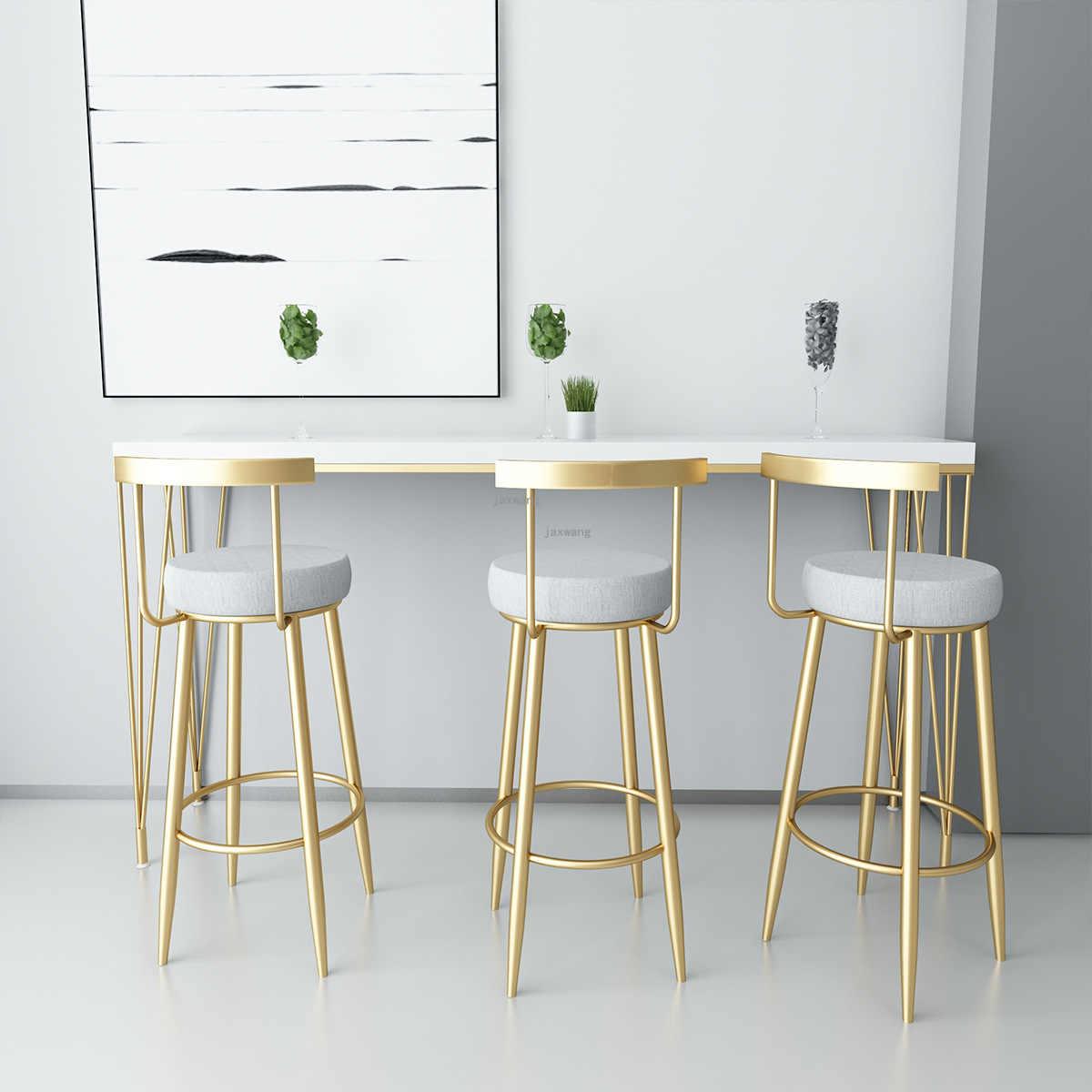 Nordic Simple Golden Bar Stool Chair Backrest High Stool Modern Bar Stool Front Restaurant Lounge Chair Aliexpress