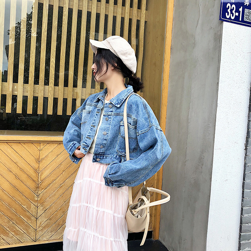 2019 korean spring autumn denim   jacket   outwear new short slim jeans   jacket   women thick   basic     jackets   coats ladies clothes BDR818