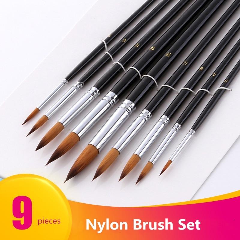 9pcs/set Nylon Oil Paint Brush Round Painting Brush For Watercolor /Oil /Acrylic Brush Pen Pincel Para Pintura Art Supplies