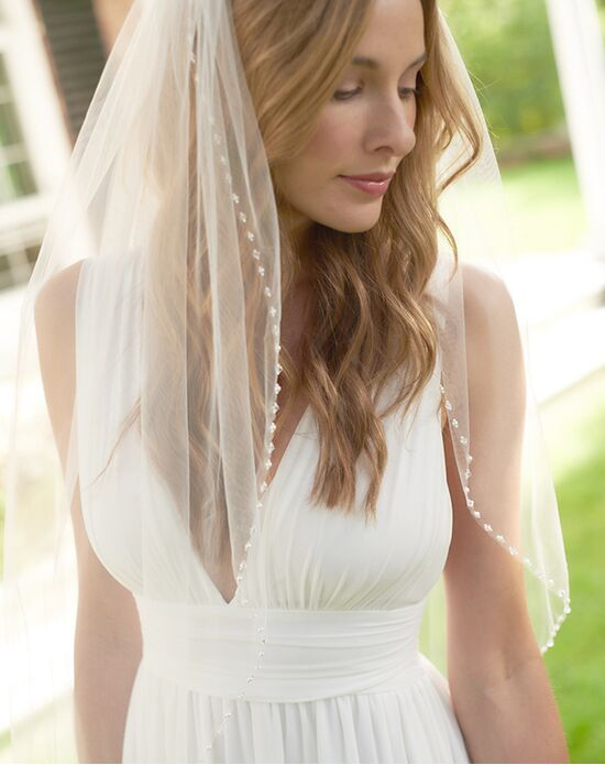 White/ Lvory 1 Tier Fingertip Wedding Veils Crystal Pearls Cut Edge Bridal Veil with Comb Bridal Accessories