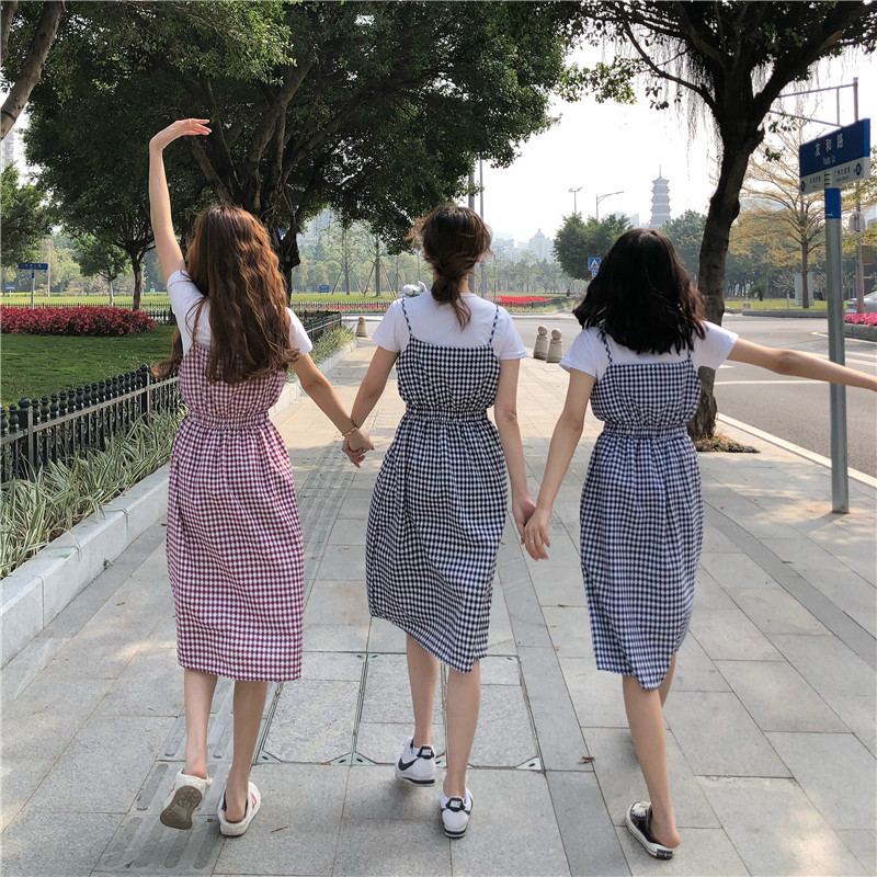 Korean-style Spring And Summer Students Slimming Plaid Strapped Dress Two-Piece Set Loose-Fit Slimming T-shirt Dress Women's