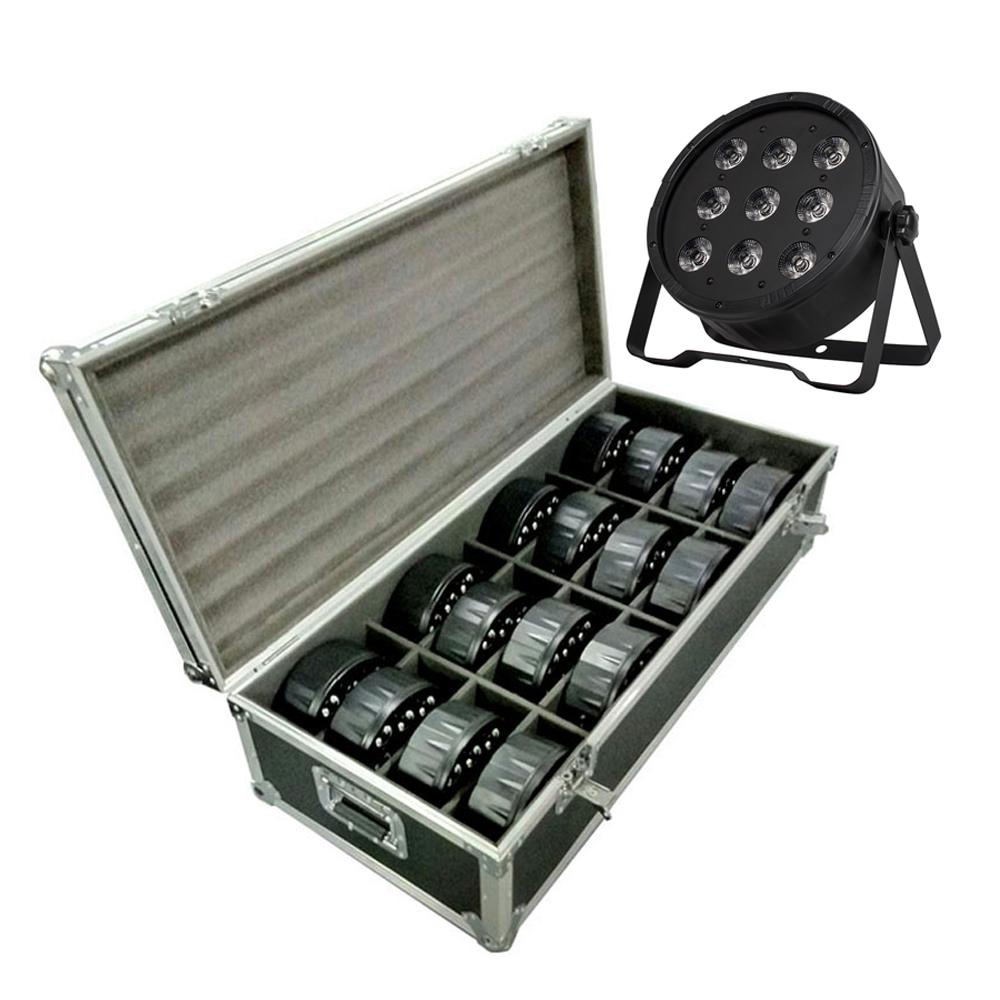 Flight Case With 16 Pieces LED Fat Par 9X12W LED Light RGBW 4IN1 LED Light Stage DJ Light DMX Led Par Party Lights