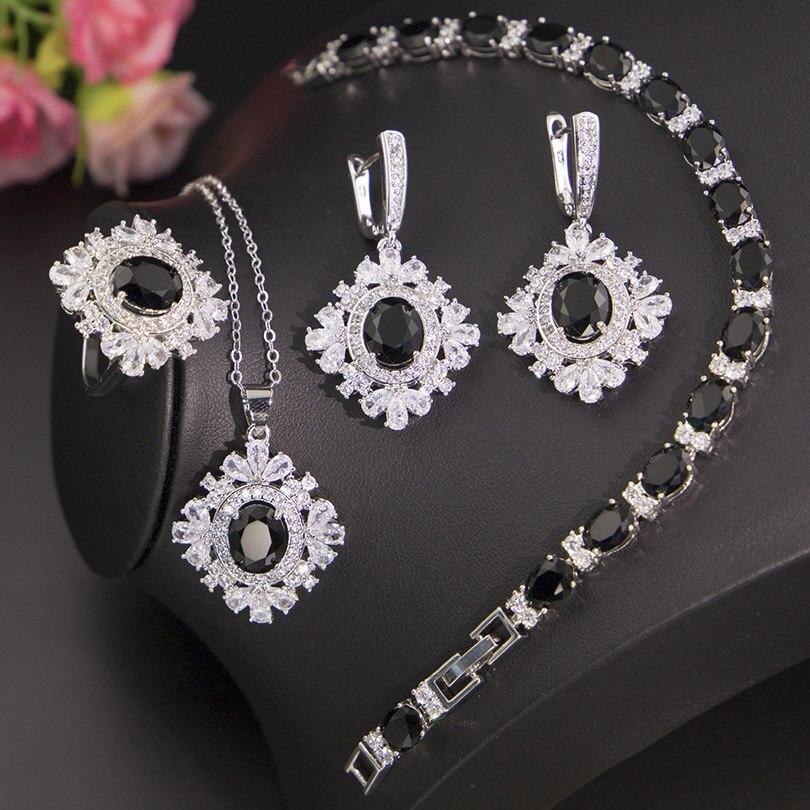 Shiny CZ Black Cubic Zircon Silver Color Jewelry For Women Earrings Ring Necklace Set For Women Luxury Wedding Jewelry