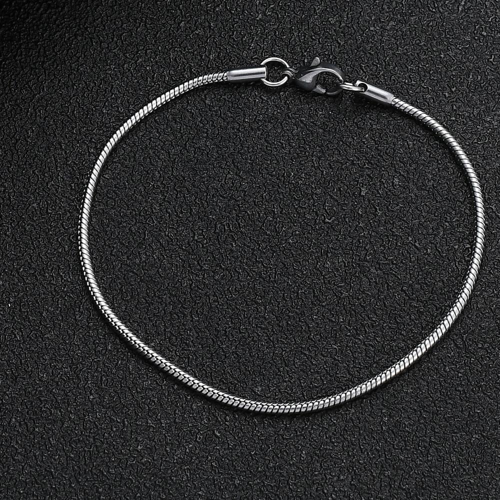 Браслет-цепочка из титановой стали, ширина 2 мм, 316L, модные ювелирные изделия для мужчин и женщин, браслет из нержавеющей стали