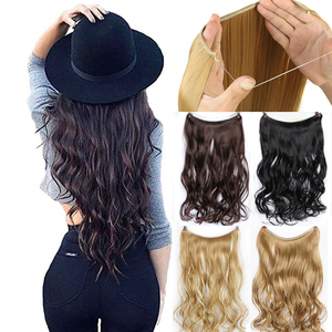 WTB Synthetic Long Wavy Invisible Fish Line No Clips 22 Inch Hair Extensions Brown Secret Invisible Hairpieces Cosplay Extension
