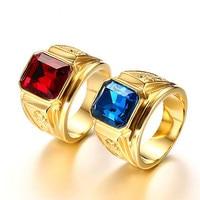 Anillos de diamantes de circonia azul y roja para hombre, joyas de acero inoxidable en tono dorado de 18k, joyería de dragón, bisutería, regalo de moda
