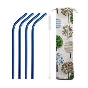 6pcs 304 Stainless Steel Fruit Juice Drinking Straw Metal Blue Straw Set Reusable Bent Straw Set with Cleaner Brush Storage Bag