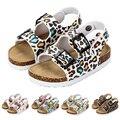 2019 letnie dziewczyny sandały moda Cork Leopard wygodne sandały plażowe dla malucha antypoślizgowe 2 rok dzieci klapki w Sandały od Matka i dzieci na