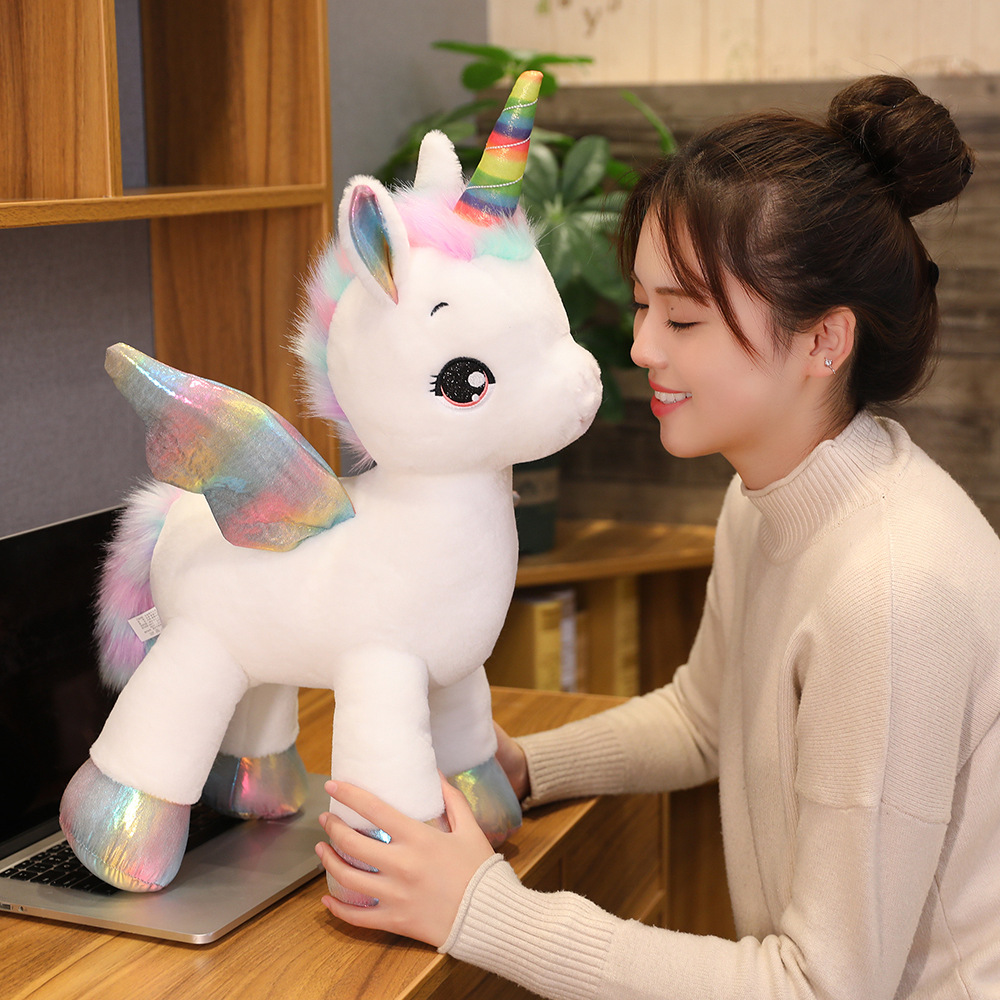 Giant Size Unicorn Plush Toy Rainbow Glowing Wings Stuffed Unicornio Doll Animal Horse Toy For Girl