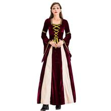 Retro Court Suit Halloween Dress Cosplay Stage Performance Costume Hooded Long Sleeve Strap Dress Professional(China)