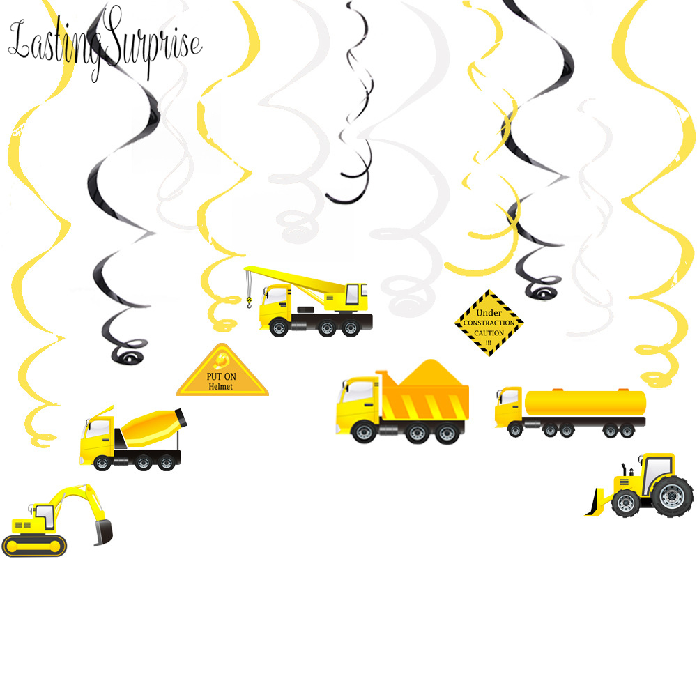 Construction Theme Party Decorations Cartoon Car Excavator PVC Spiral Hanging Swirl Boy Happy Birthday DIY Party Favors Supplies