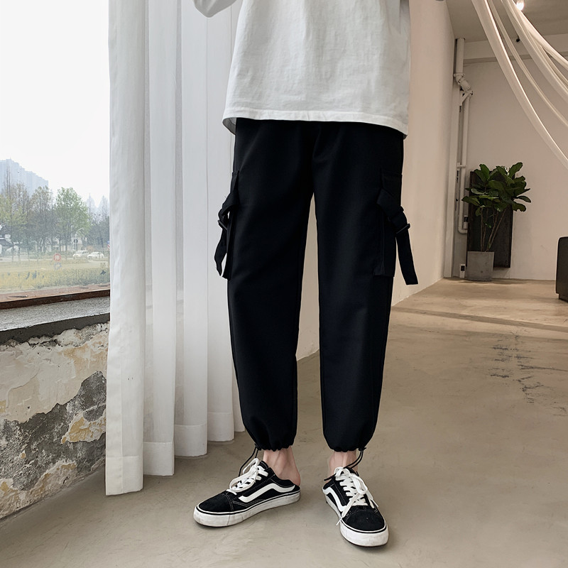 Drawstring Overalls Men's Fashion Solid Color Cotton Casual Pants Men Streetwear Wild Loose Hip Hop Straight Trousers Mens