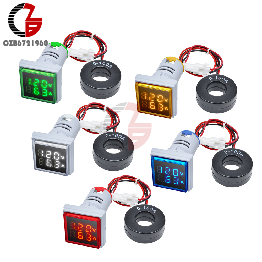 22 millimetri AC 50-500V 0-100A LED Digital Voltmetro Amperometro 220V 110V Piazza Tester di Tensione di Corrente volt Detector Tester Monitor