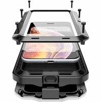 360 volle Schutzhülle Stoßfest rüstung telefon Fall für iPhone 11 Pro XS MAX XR X 7 8 6 6S plus 5 S 5 SE Metall Aluminium Stoßfänger Abdeckung