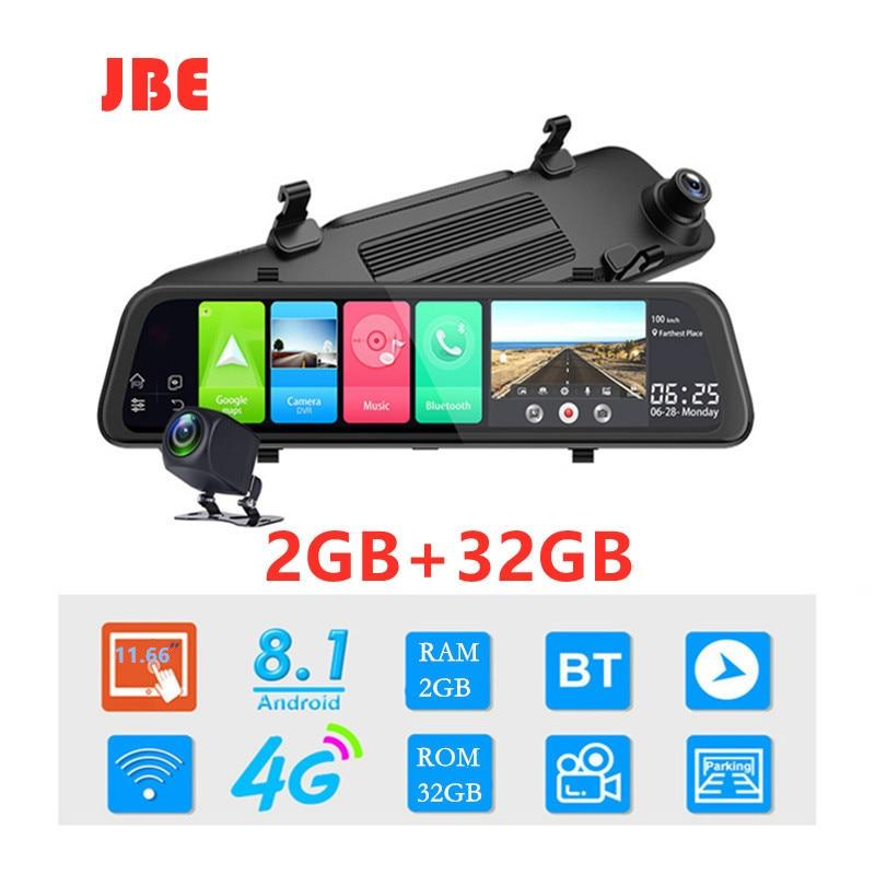 Автомобильный видеорегистратор, 2 ГБ + 32 ГБ, Android 8,1, 12 дюймов, 4G, GPS навигация, видеорегистратор, двойная камера 1080P, Автомобильный видеорегистр...