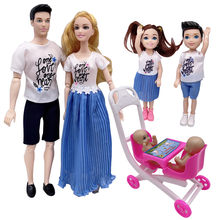 11.5 inch Barbies doll accessories family 4 people combination = dad + mom / doll stroller children's educational play house toy(China)