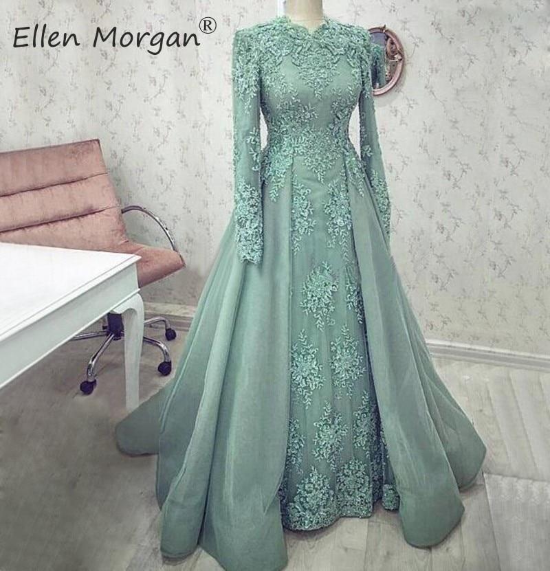 Saudi Arabia Muslim Long Sleeves Evening Dresses 2020 Dubai Kaftan Lace Beaded Floor Length Elegant Moroccan Formal Party Gowns