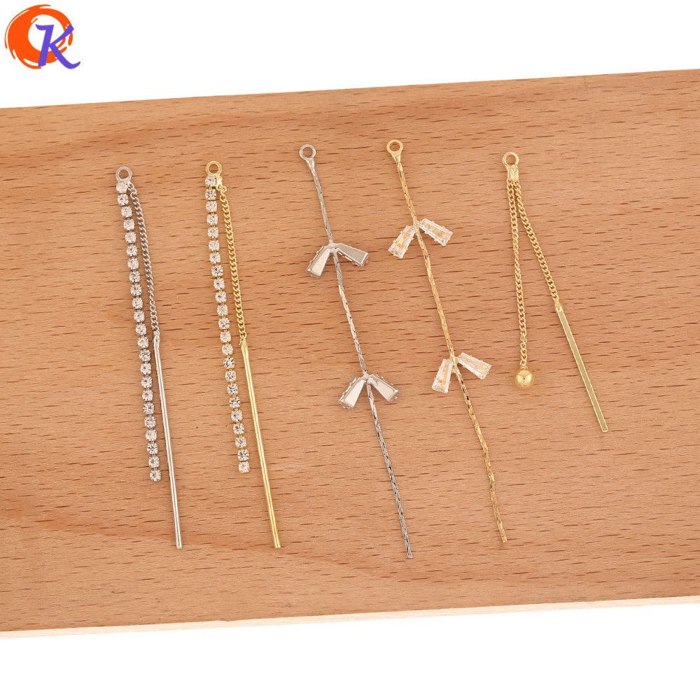 Cordial Design 50Pcs Jewelry Accessories/Hand Made/Rhinestone Claw Chain/Connectors For Earrings/DIY CZ Charms/Earring Findings