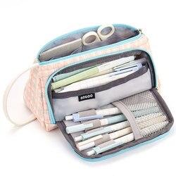 영국 스타일 연필 케이스 캔버스 대용량 펜 파우치 3c 제품 홀더 가방 메이크업 가방 학교 소녀를위한 편지지 펜 케이스