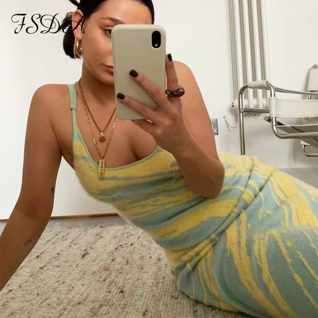 FSDA 2021 Hollow Out Y2K Knit Dress Women Bodycon Summer Backless Off Shoulder Spaghetti Strap Party Beach Sexy Dresses Green 1