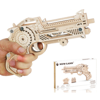 Wooden Desert Hawk Rubberband Gun Soft Bullet Gun 80 Classic Toy Puzzle Assembly Model For Children