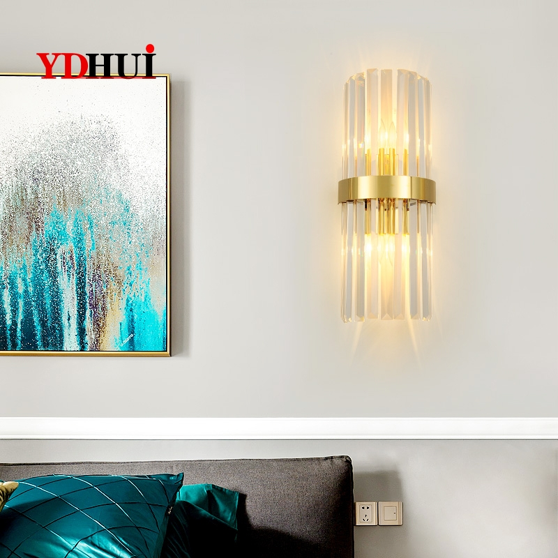 Postmodern Simple Background Wall Lamp Creative Crystal Lightweight Living Room Villa Wall Lamp Nordic Bedside Lamp