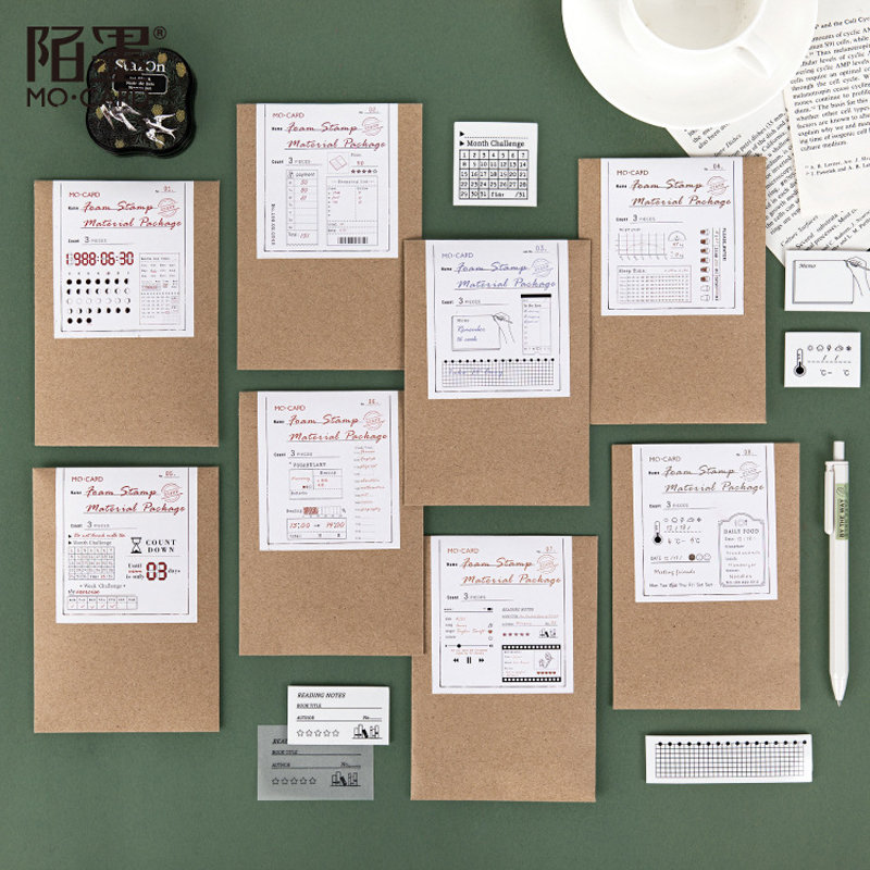 3 Pcs Vintage Functional Seal Time Planner Record/Check List Decoration Rubber Stamp Set For DIY Scrapbook Decoration Embossing