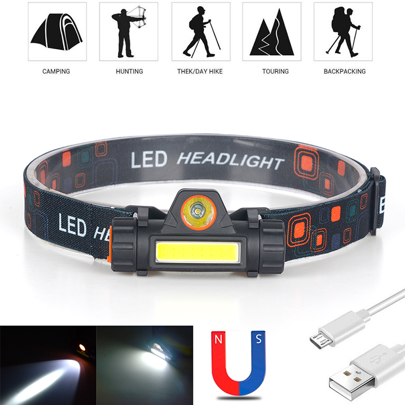 Headlamp Work Light For Fishing Head Lamp Headlight Suit Waterproof 2 Cob Led Flashlight Built In Battery Usb Rechargeable