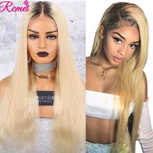 13x4 1B/613 Blonde Lace Front Human Hair Wigs Brazilian Straight Hair 613 Transparent Lace Frontal Wigs With Baby Hair Remy Hair(China)