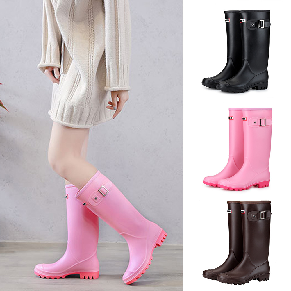 Women High Warm Lined Rain Boots Winter Anti-slip Waterproof Insulated Buckles Pull-on Cold Weather Oil Resistant Wellington