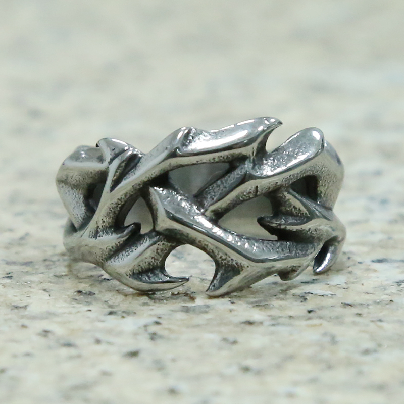 Retro Hollow Design Round Thorns Ring Cool Stainless Steel Punk Biker Rings For Women Men Viking Jewelry Wedding Party Gifts