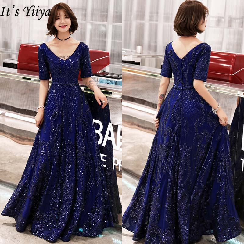 It's YiiYa Evening Dresses 2019 Sexy V-neck Short Sleeve Long Formal Dresses Elegant Sequins Slim Floor Length Party Gowns E412