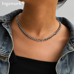 Punk Miami Cuban Short Choker Necklace Women Collares Goth Minimalist Mix Color Stainless Steel Thin Chain Necklace Men Jewelry
