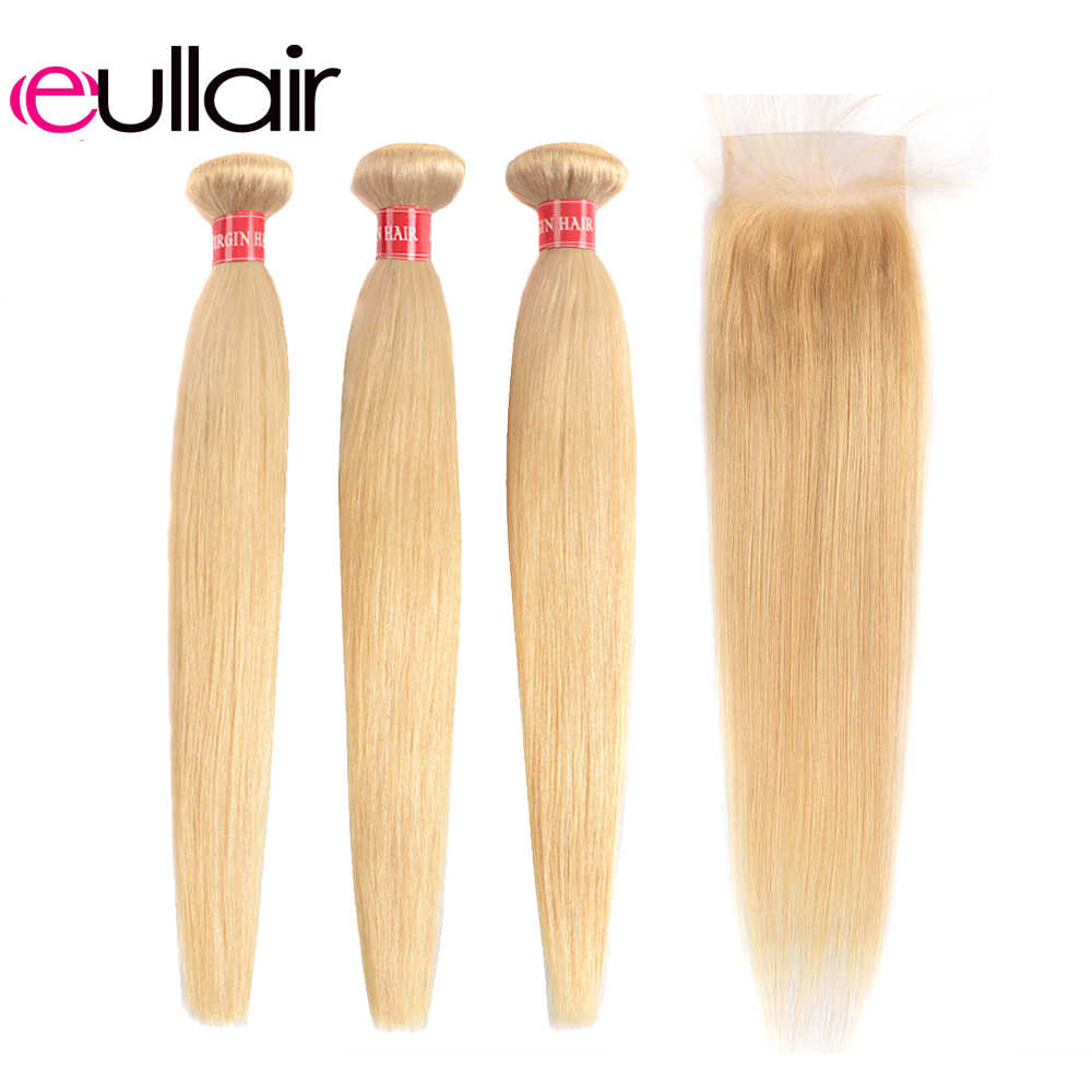 eullair Brazilian Blonde Bundles with Closure Straight Human Hair Weave with 4*4 Lace Closure 613 Remy Bundles with Closure Deal