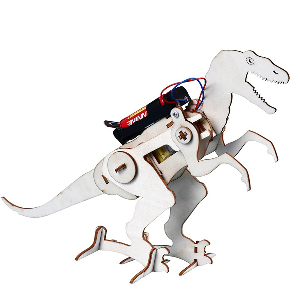 Kids DIY Wooden Creeping Dinosaur Science Kit Innovative Electric Construction Set DIY T Rex Model Interesting Toy Physics Toys