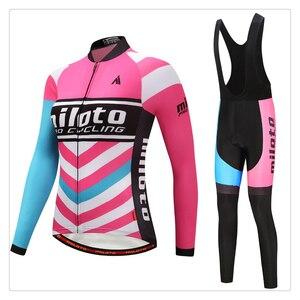 Ladies Long Sleeve Cycling Clothing Sets Bicycle Maillot Jersey Mtb Road Uniforms Fashion Bib Shorts Gel Pad Triathlon Hot Sale