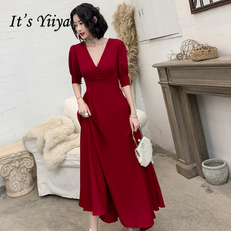 It's Yiiya V-neck Evening Dresses Burgund Ankle Length Women Party Gowns Elegant Half Sleeve A Line Formal Robe De Soiree K258