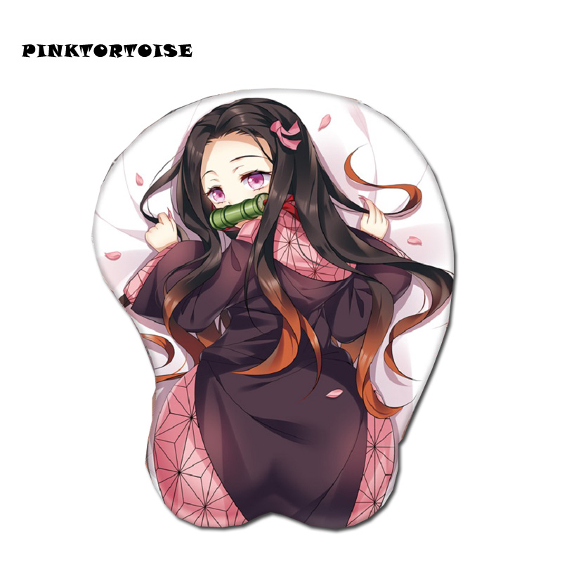 <font><b>Anime</b></font> Demon Slayer <font><b>Sexy</b></font> Hip 3D Kamado Nezuko <font><b>Mouse</b></font> <font><b>Pad</b></font> 3D Soft Chest <font><b>Mouse</b></font> <font><b>Pad</b></font> Mat Wrist Rest image