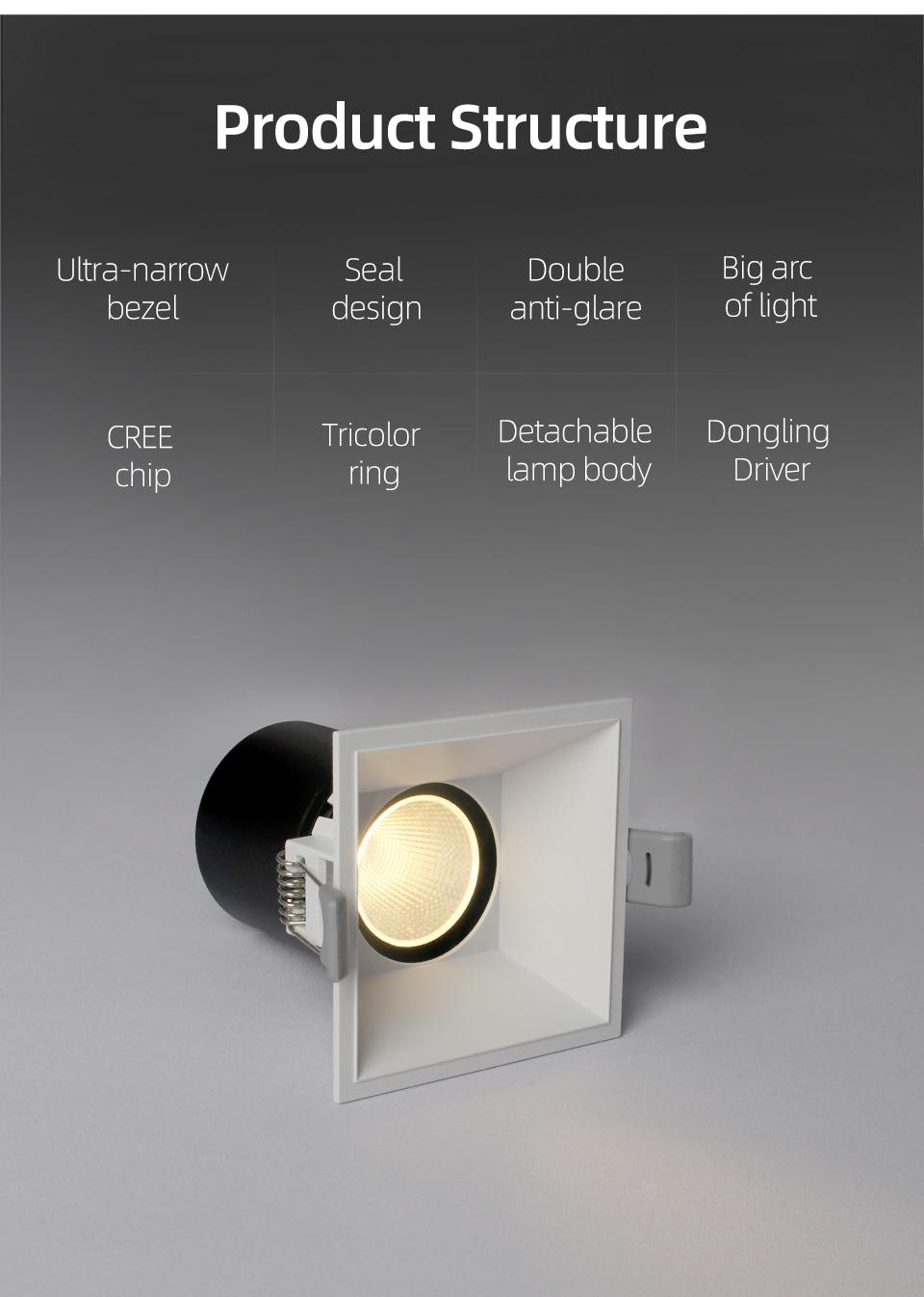 Foco LED cuadrado empotrado