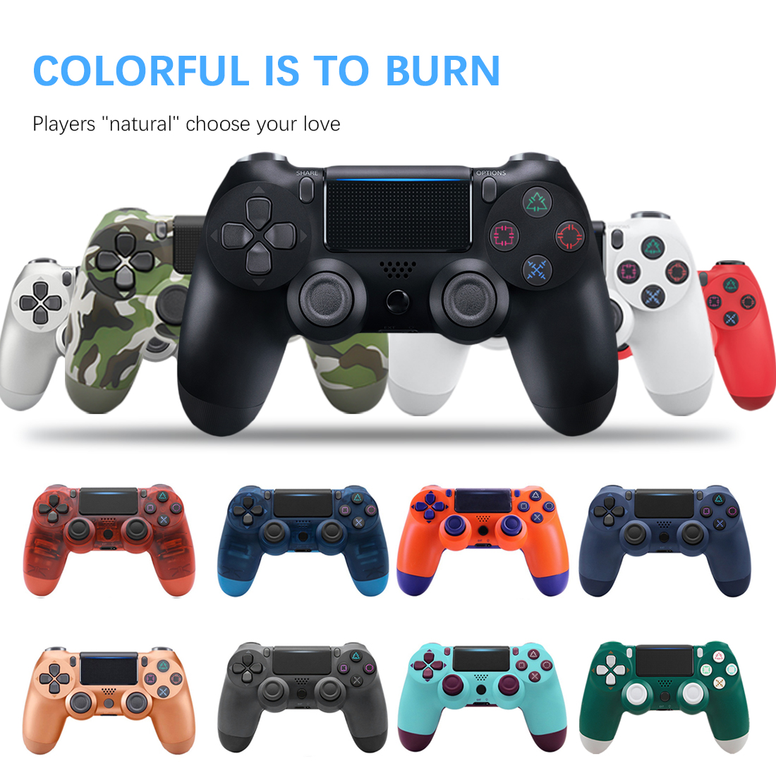 Bluetooth Wireless/Wired Joystick For PS4 Controller Fit Wireless Bluetooth Ps4 Game Controller With Indicator Bar