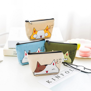 Cartoon Cat Print Women Coin Purse Kids Mini Card Wallet Holder Key Change Bag Pouch Child Storage Box Coin Wallet Gift image