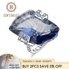 GEMS BALLET 21.20Ct Natura Iolite Blue Mystic Quartz Gemstone Cocktail Rings 925 Sterling Silver Fine Jewelry for Women