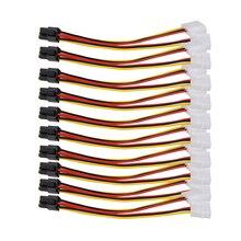 10 قطعة المزدوج 4 دبوس إلى 6 دبوس موليكس PCI-E بطاقة جرافيكس الخارجية الطاقة محول الكابل محول عالية الجودة للتعدين BTC التعدين