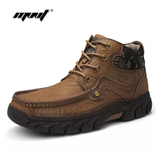High Quality Men Boots Plus Size Full Natural Leather Ankle Snow Shoes Warm Plush Lace-Up Autumn And Winter