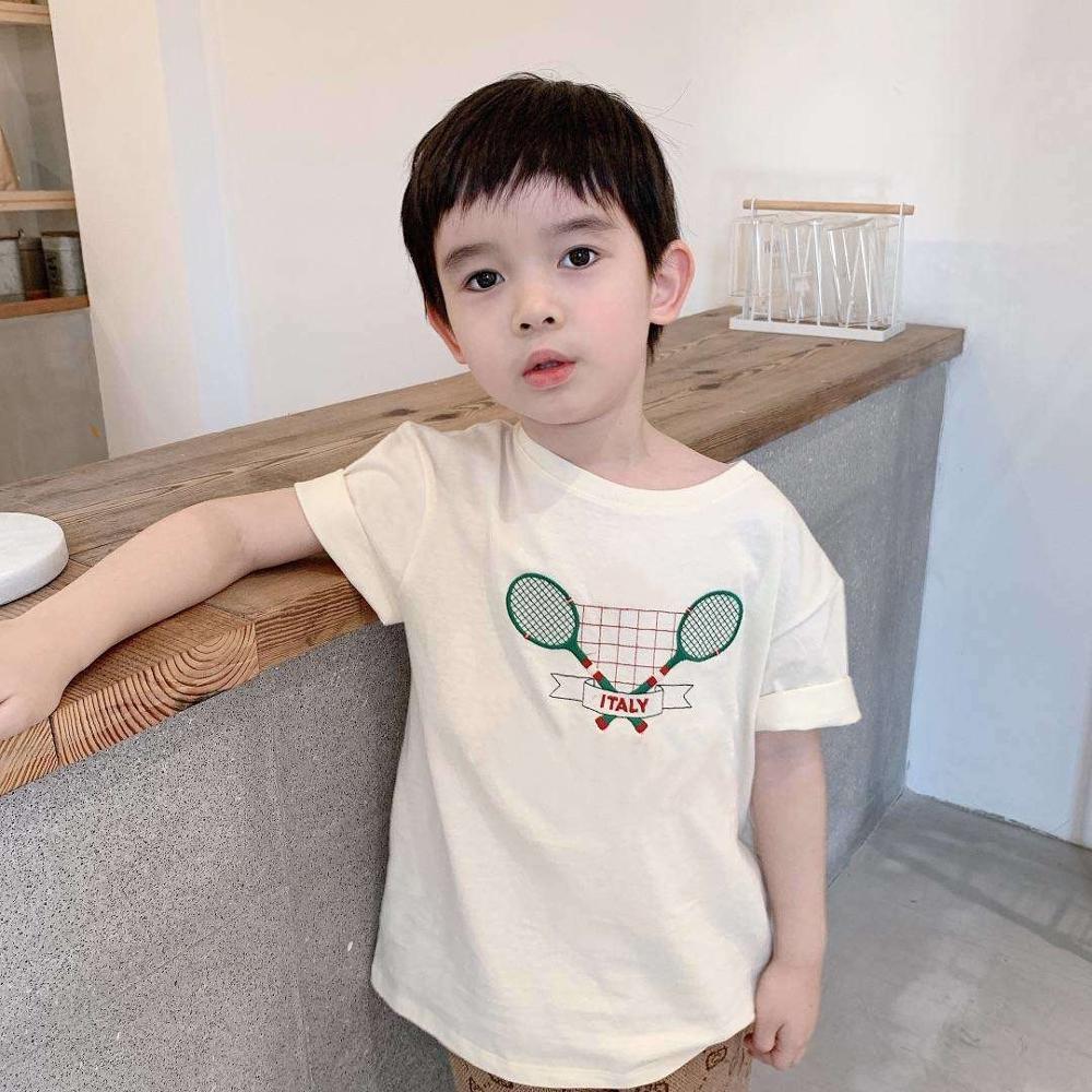Y423 top brand boy T shirt Summer children's racket embroidered cotton short sleeve Tee shirt for girls boys|T-Shirts| - AliExpress