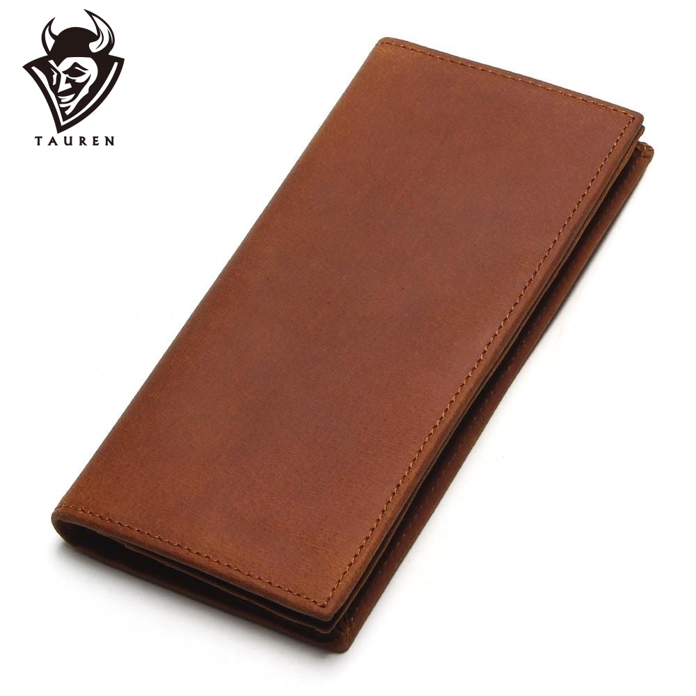 TAUREN First Layer Cow Genuine Leather Wallet Men Bifold Zipper Crazy Horse Leather Clutches Retro Long Brand Hand Bag